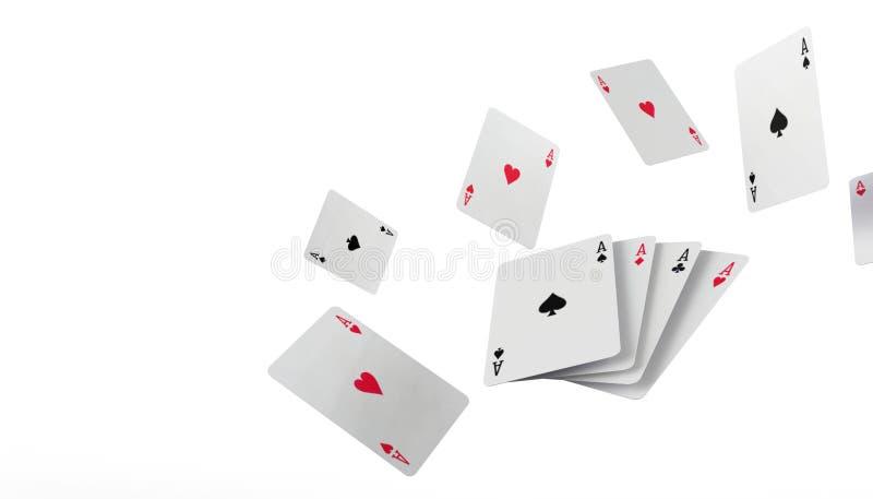 在隔绝的下跌的啤牌纸牌赌博娱乐场概念在白色背景 库存例证