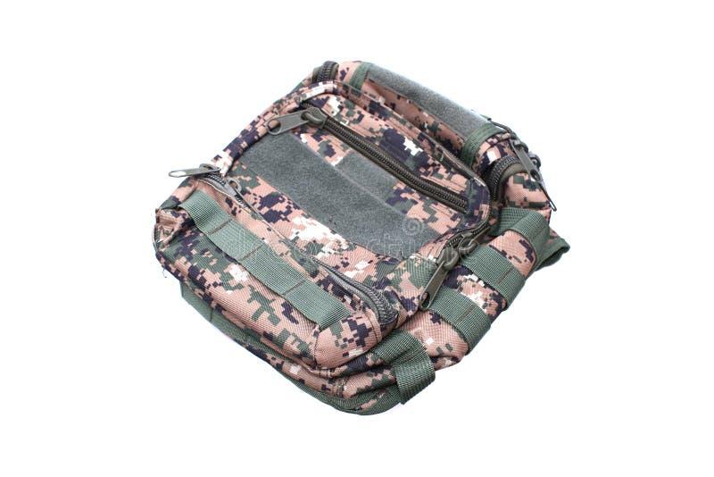 在隔绝的军用背包 库存图片