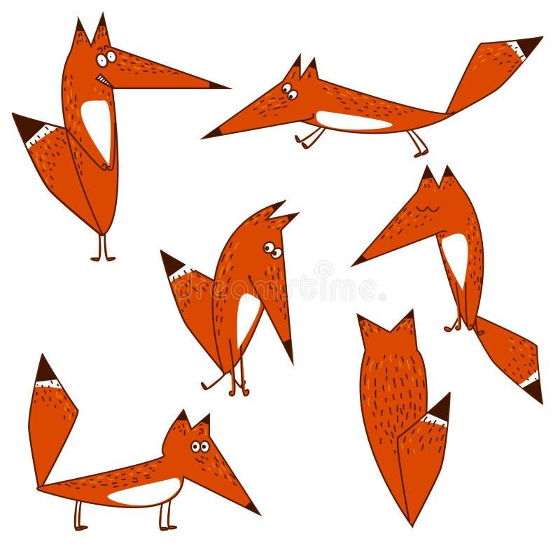 在隔离的橙色Fox逗人喜爱的滑稽的动画片样式选择以各种各样的姿势 皇族释放例证