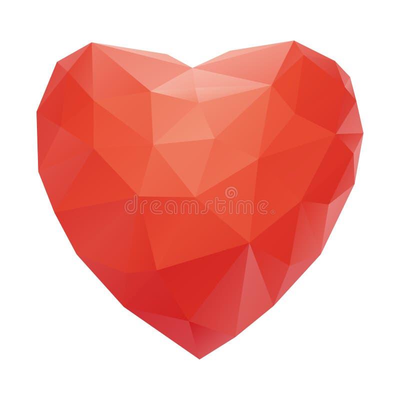 在隔绝的红色心脏摘要白色背景 皇族释放例证