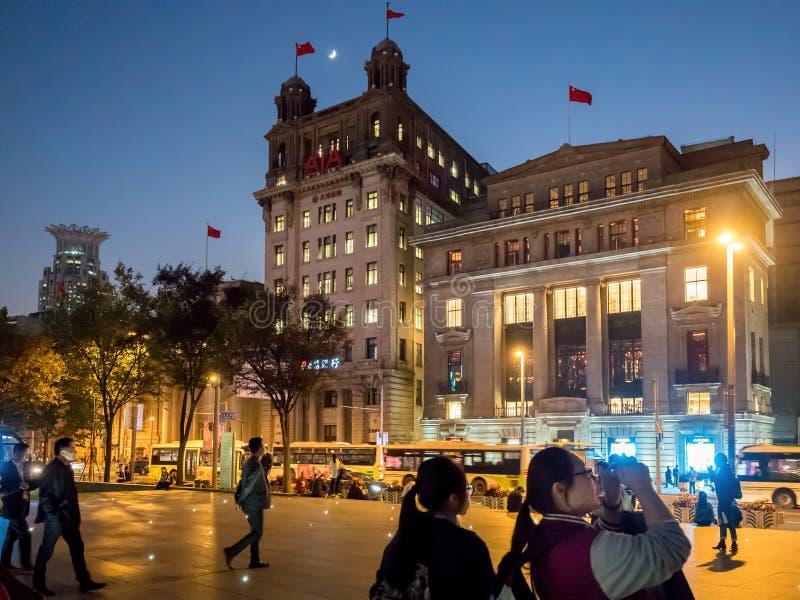在障壁上在夜之前,上海,中国 免版税库存照片