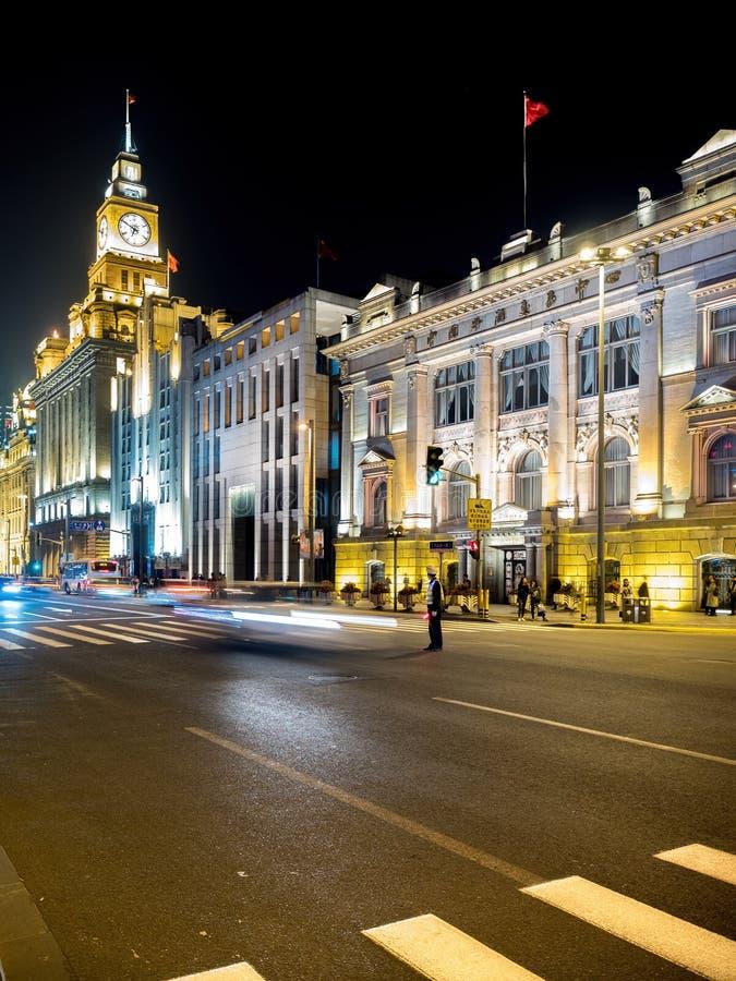 在障壁的夜视图,上海,中国 免版税库存照片