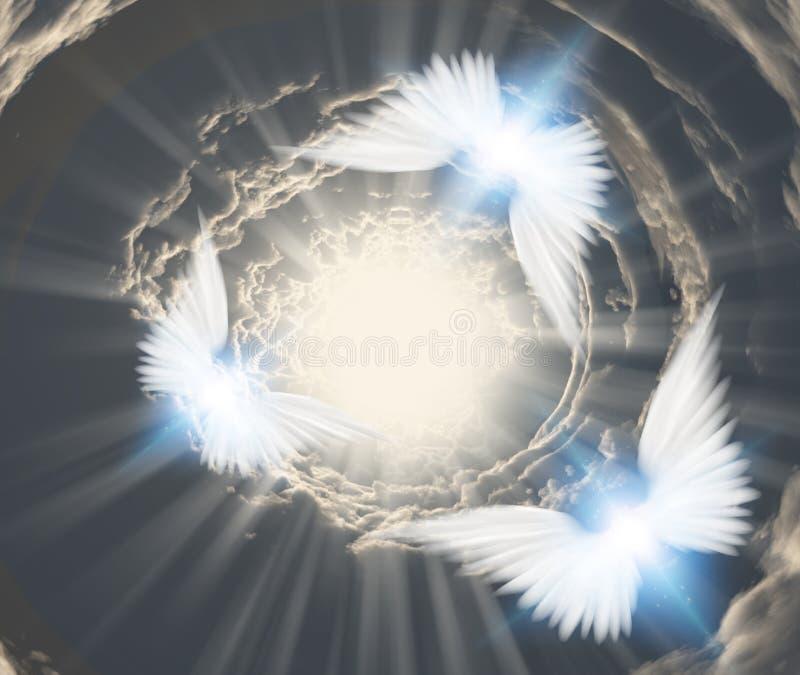 在隧道云彩的天使 向量例证