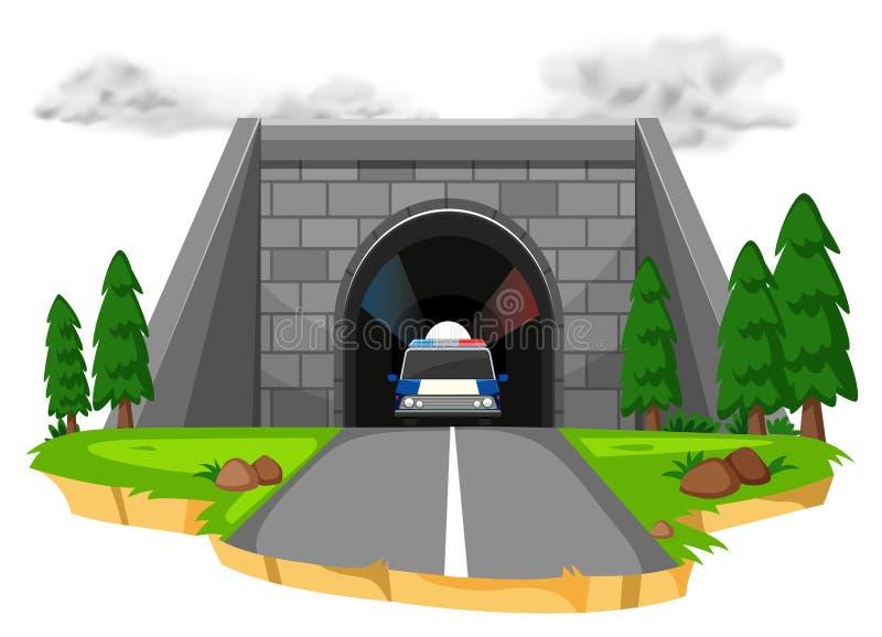在隧道的警车 库存例证