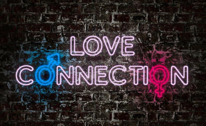 在难看的东西墙壁上的爱连接霓虹文本 免版税库存图片
