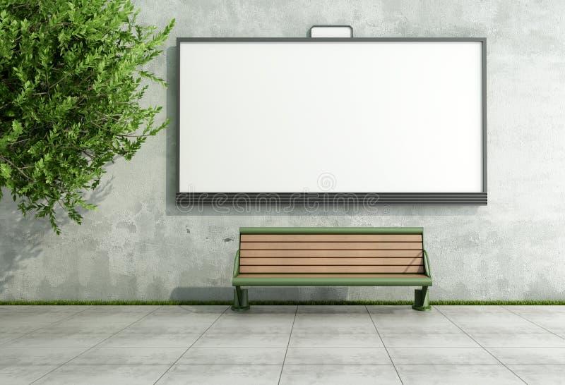 广告在难看的东西墙壁上的街道bilboard与是 库存例证