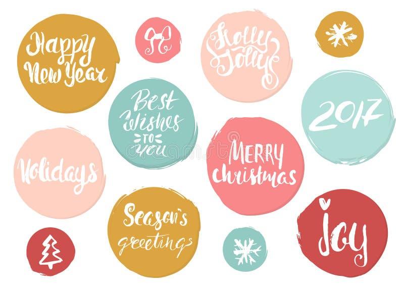 在难看的东西样式圈子的手拉的假日字法 独特的字法的圣诞节汇集贺卡的,固定式 库存例证