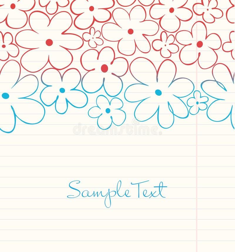 在难看的东西样式的学校背景。在笔记本叶子的花卉手拉的条纹 库存例证