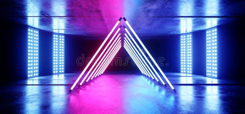 在难看的东西混凝土沥青反射性光谱激光展示错觉的三角霓虹发光的蓝色紫色充满活力的背景 向量例证