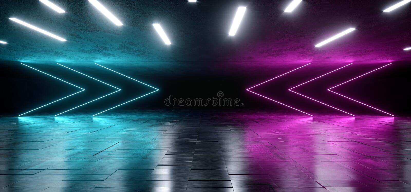 在难看的东西混凝土沥青反射性光谱激光展示错觉的霓虹发光的蓝色紫色箭头充满活力的背景 向量例证