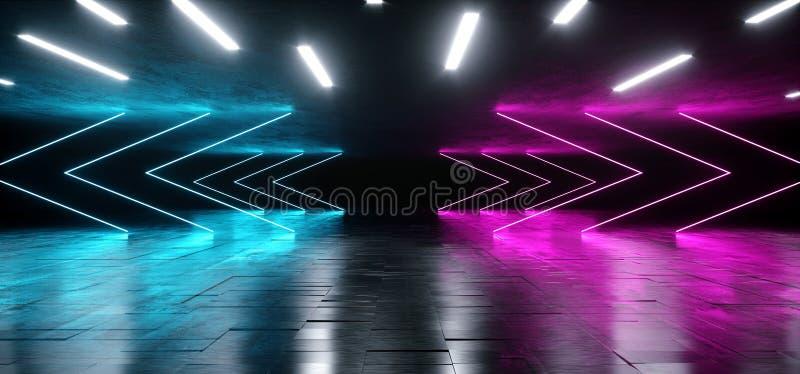 在难看的东西混凝土沥青反射性光谱激光展示错觉的霓虹发光的蓝色紫色箭头充满活力的背景 皇族释放例证