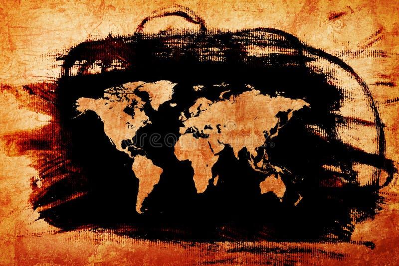 在难看的东西老纸纹理的世界地图 皇族释放例证