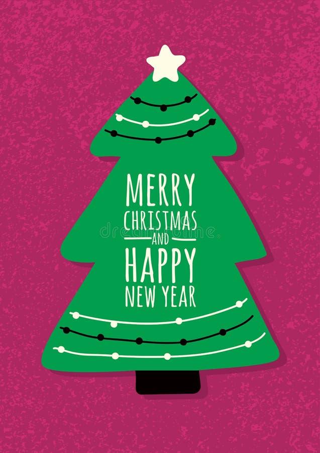 在难看的东西背景的抽象传染媒介绿色冷杉木 圣诞节o 库存例证
