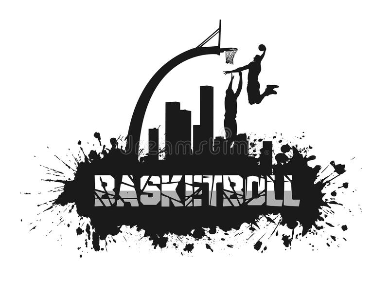 在难看的东西背景的篮球比赛 皇族释放例证