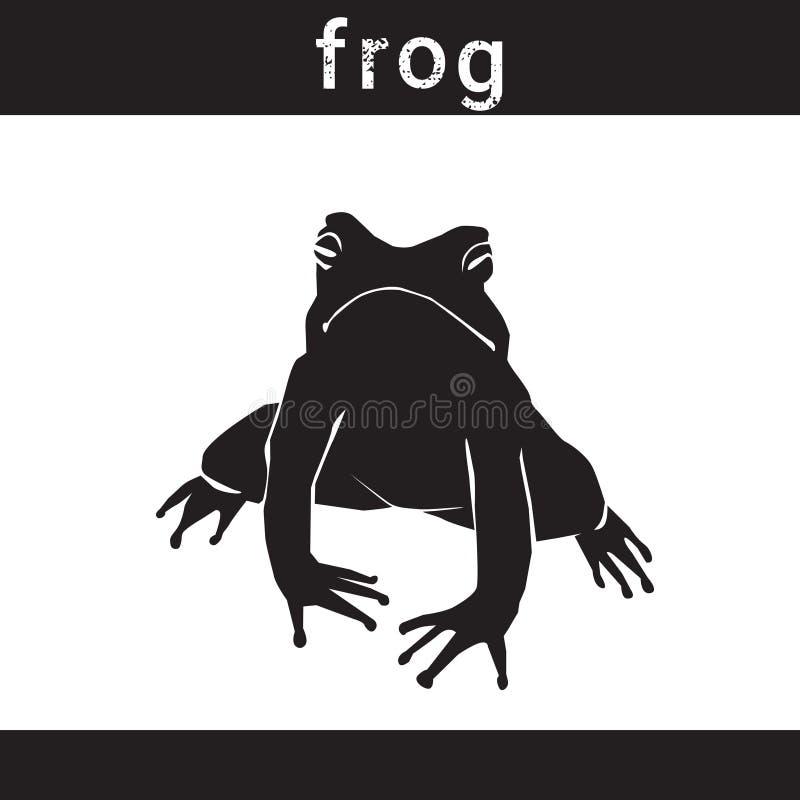 在难看的东西设计样式动物象的剪影青蛙 库存例证
