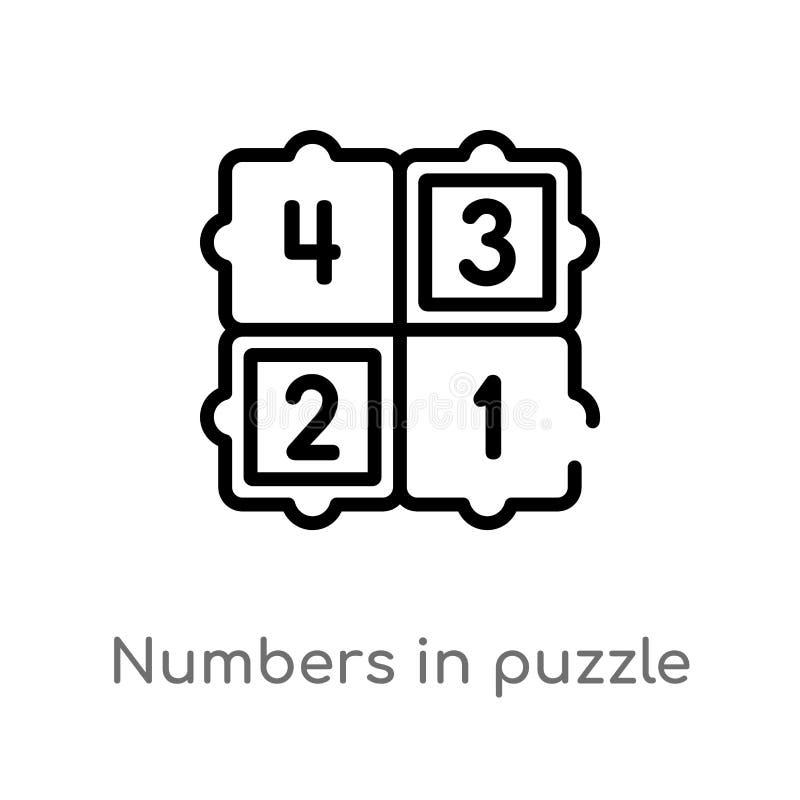 在难题传染媒介象的概述数字 被隔绝的黑简单的从教育概念的线元例证 编辑可能的传染媒介 向量例证