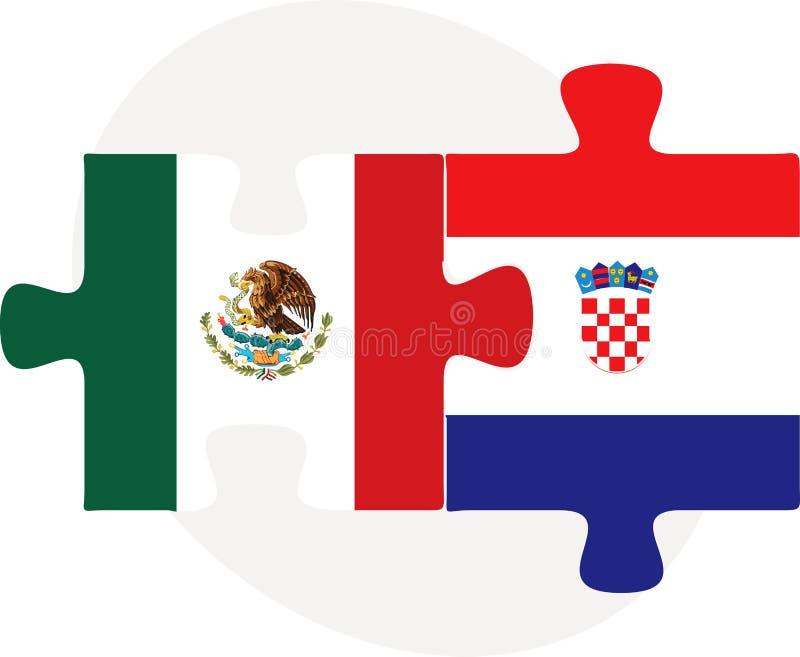 在难题的墨西哥和克罗地亚旗子 库存例证