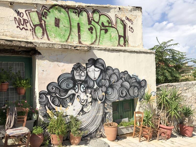在雅典墙壁,希腊上的精心制作的艺术品 库存图片