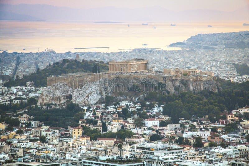 在雅典的日落在希腊 图库摄影