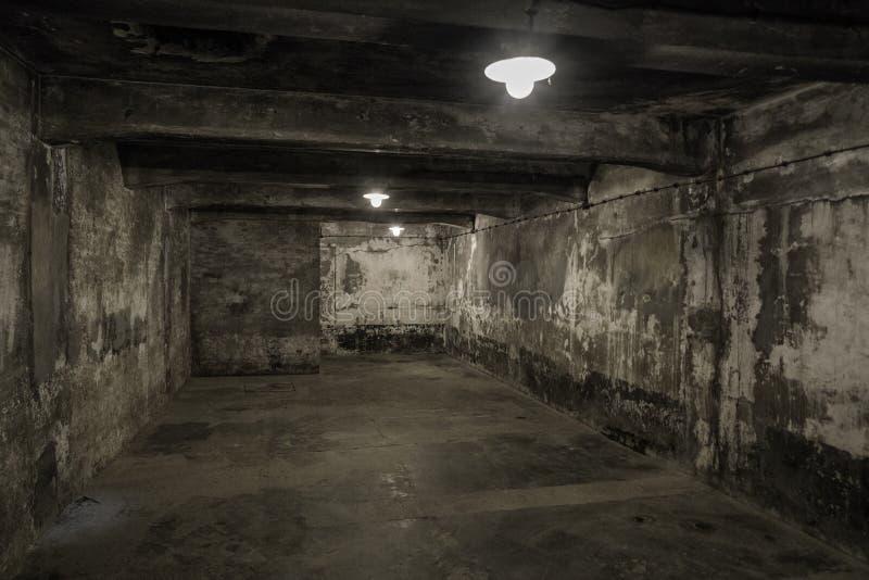 在集中营的毒气室在奥斯威辛I,波兰 免版税库存照片