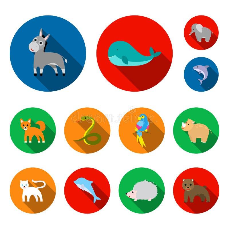 在集合汇集的不切实际的动物平的象的设计 玩具动物传染媒介标志股票图片