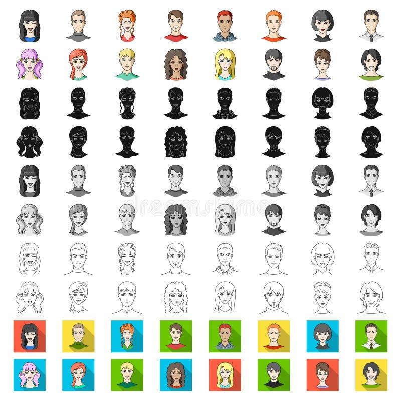在集合汇集的具体化和面孔动画片象的设计 人出现传染媒介标志股票网例证 库存例证