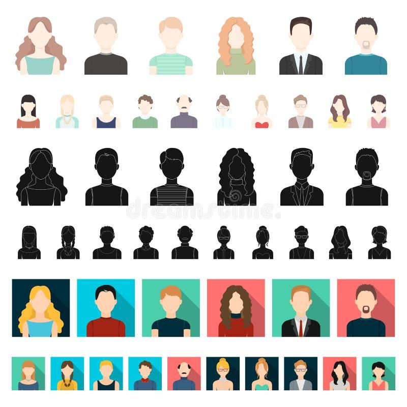 在集合汇集的具体化和面孔动画片象的设计 人s出现传染媒介标志股票网例证 库存例证