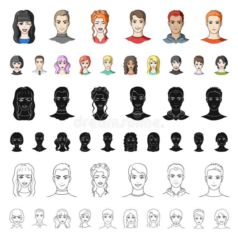 在集合汇集的具体化和面孔动画片象的设计 人s出现传染媒介标志股票网例证 皇族释放例证