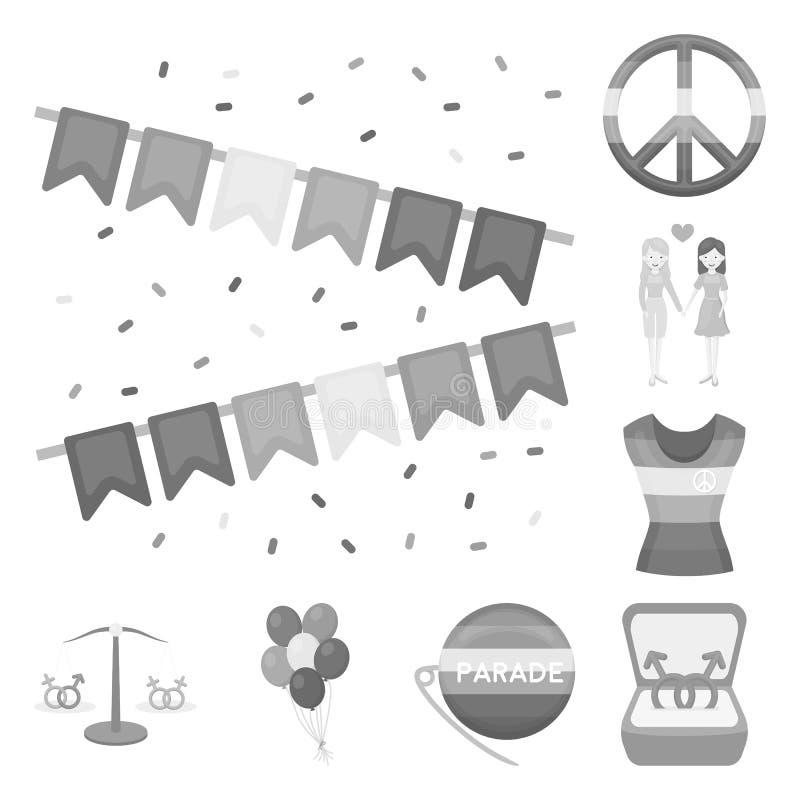 在集合汇集的同性恋者单色象的设计 性少数和属性导航标志储蓄网 库存例证