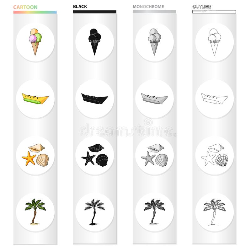 在集合汇集的夏天休息动画片黑色单色概述象的设计 海滩辅助传染媒介标志股票网 皇族释放例证