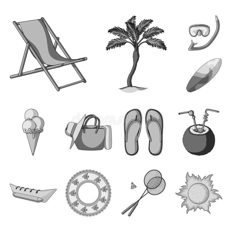 在集合汇集的夏天休息单色象的设计 海滩辅助传染媒介标志股票网例证 向量例证