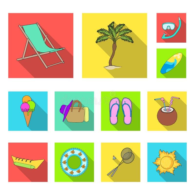 在集合汇集的夏天休息平的象的设计 海滩辅助传染媒介标志股票网例证 皇族释放例证