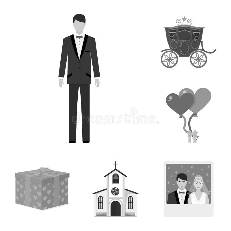 在集合汇集的婚姻和属性单色象的设计 新婚佳偶和辅助部件传染媒介标志股票网 向量例证