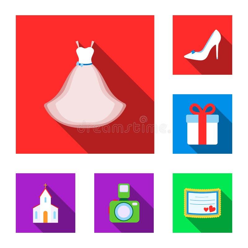 在集合汇集的婚姻和属性平的象的设计 新婚佳偶和辅助部件传染媒介标志股票网 库存例证