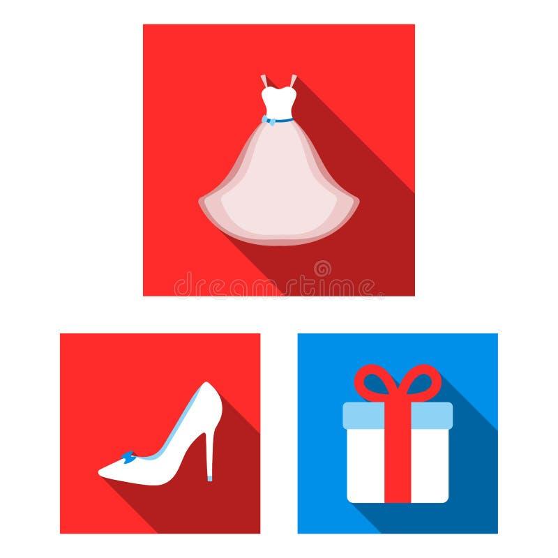 在集合汇集的婚姻和属性平的象的设计 新婚佳偶和辅助部件传染媒介标志股票网 向量例证