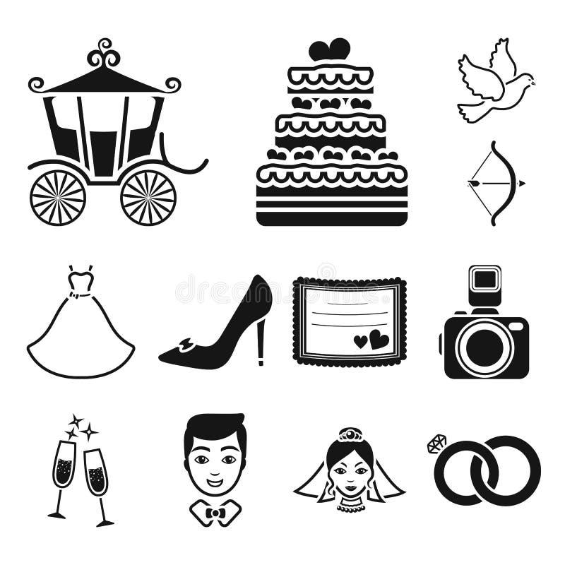 在集合汇集的婚姻和属性黑象的设计 新婚佳偶和辅助部件传染媒介标志股票网 向量例证