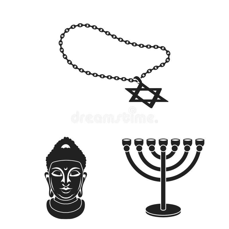 在集合汇集的宗教和信仰黑象的设计 辅助部件,祷告传染媒介标志股票网例证 向量例证