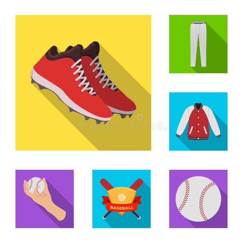 在集合汇集的棒球和属性平的象的设计 棒球运动员和设备导航标志储蓄网 皇族释放例证