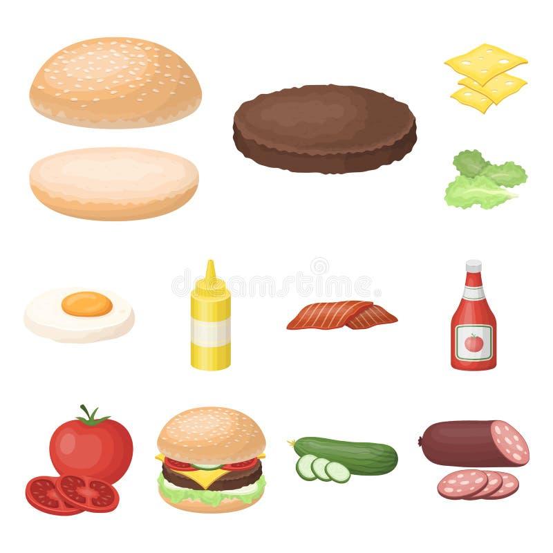 在集合汇集的汉堡和成份动画片象的设计 烹调传染媒介标志股票网例证的汉堡 皇族释放例证