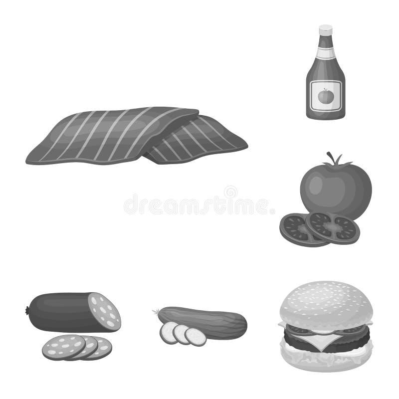 在集合汇集的汉堡和成份单色象的设计 烹调传染媒介标志股票网的汉堡 向量例证