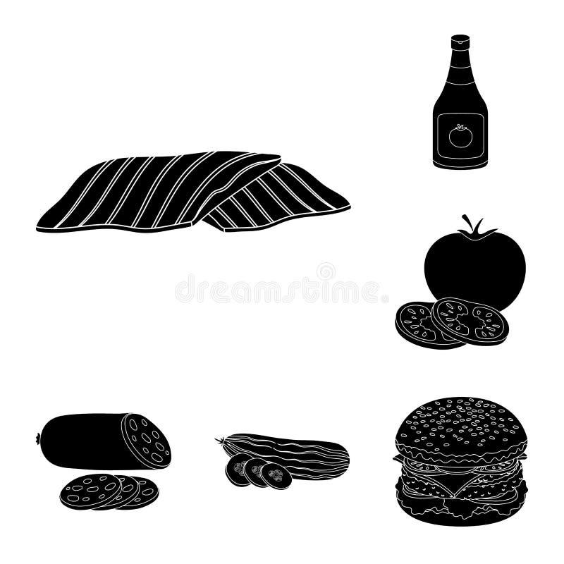 在集合汇集的汉堡和成份黑象的设计 烹调传染媒介标志股票网例证的汉堡 皇族释放例证