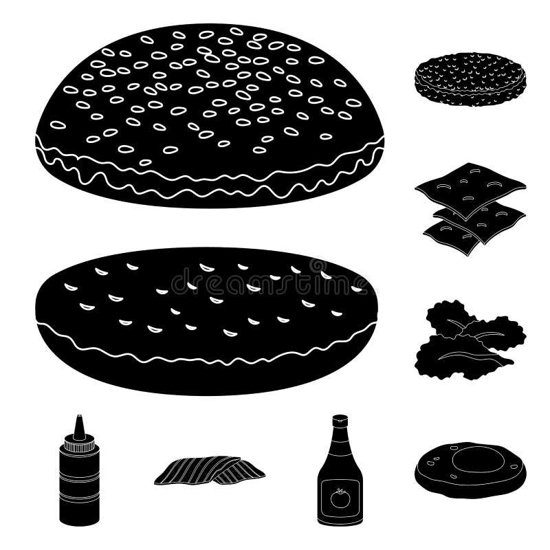 在集合汇集的汉堡和成份黑象的设计 烹调传染媒介标志股票网例证的汉堡 向量例证