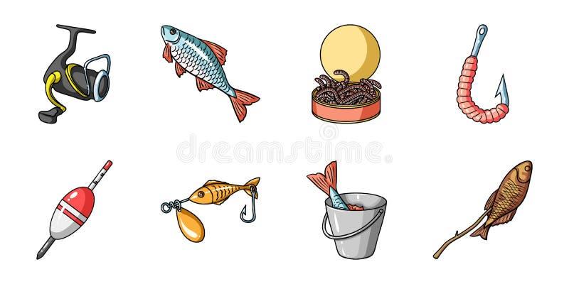 在集合汇集的渔和休息象的设计 钓鱼的传染媒介标志股票网例证滑车 皇族释放例证