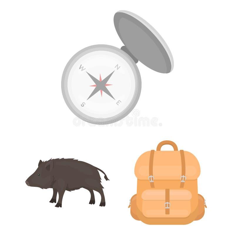 在集合汇集的狩猎和战利品动画片象的设计 狩猎和设备传染媒介标志股票网 向量例证