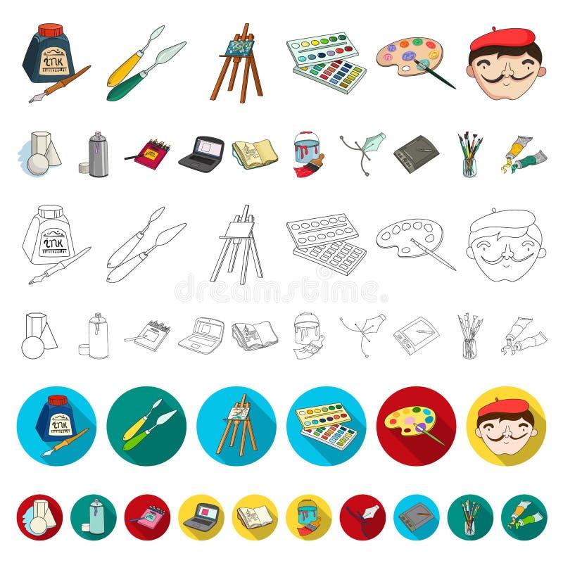 集合汇集的画家和图画动画片象的设计 艺术性的辅助部件传染媒介标志图片