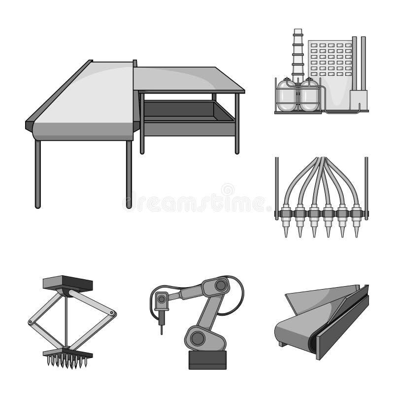 在集合汇集的设备和机器单色象的设计 工厂传染媒介标志的技术进步 库存例证