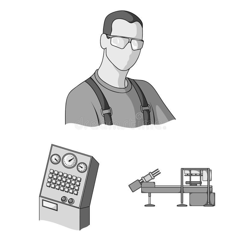 在集合汇集的设备和机器单色象的设计 工厂传染媒介标志的技术进步 皇族释放例证