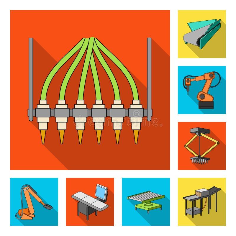 在集合汇集的设备和机器平的象的设计 工厂传染媒介标志股票网的技术进步 向量例证