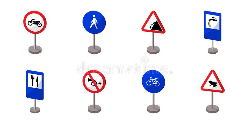 在集合汇集的路标象的不同的类型的设计 警告和禁止传染媒介标志股票网 库存例证