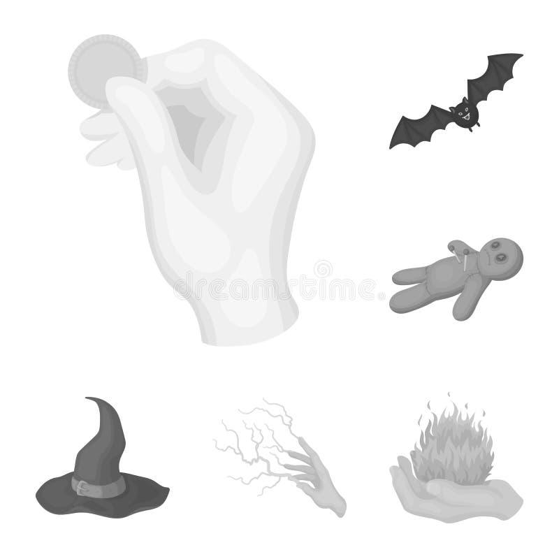 在集合汇集的黑白不可思议的单色象的设计 属性和女巫辅助部件传染媒介标志 皇族释放例证